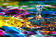 Macro Photography Of Colorful Abstract Water Drop Creations stock photo