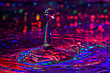 Water Drops Backgrounds Macro Photography Of Colorful Water Drop Collision Sculpture stock photography