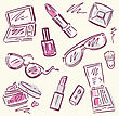 Makeup Products Set. Cosmetics. Hand Drawn Vector Illustration