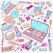 Makeup Products Set. Hand Drawn Vector Illustration
