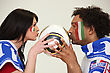 Male And Female Italian Soccer Supporters