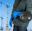 Industry Male Welder Closeup With Welding Equipment On Building Background stock photo