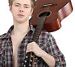 Man Carrying Acoustic Guitar stock photo