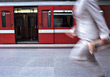 Man Running to Catch Subway stock photo