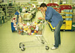 Man Shopping For Groceries stock photography