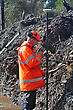Man Surveying The Location Of Geophones For A Seismic Reflective Survey On The West Coast Of New Zealand stock photography