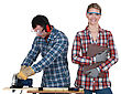 Man Using A Circular Saw And A Woman stock photography