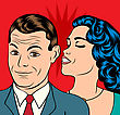 Man And Woman Love Couple In Pop Art Comic Style, Vector Illustration