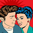 Man And Woman Love Couple In Pop Art Comic Style, Vector Illustration stock vector