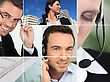 Manager, A City View And People At Phone stock photography