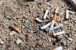 Many Cigarette Butts In Ashtray Sand Truck stock image