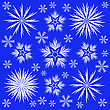 Many Different White Snowflakes On A Blue Background