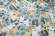Many Of Five Euro Banknotes Lie Side By Side stock photo
