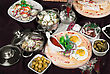 Many Food Dishes On The Restaurant Table. Close Up. stock image