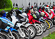 Many Motobikes On The Parking, Thailand stock photo