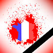 Map Of France And Black Ribbon On Red Background