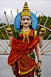 Marble Wood Statue Of A Hinduism Women Shiva Vishnu Brahma In A Temple Near A Lake In Mauritius Africa stock photography