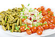 Savoury Marinated Vegetables Closeup At The Plate Isolated stock photo