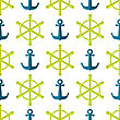 Marine Seamless Pattern. Ship Steering Wheel Background