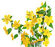 Marsh Marigold Yellow Wildflowers In Vase stock photo