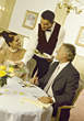 Mature Couple At Fine Dining Restaurant stock photo