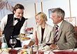Mature Couple Dining at Restaurant stock photo