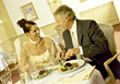 People Eating  Mature Couple Elegant Dinner stock image
