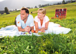 Mature Couple Picnic on Hill stock photo