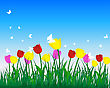 Meadow Background With Tulips. All Objects Are Separated. Vector Illustration.