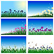 Meadow Color Background Set With Sun. All Objects Are Separated. Vector Illustration With Transparency And Mesh. Eps 10