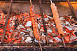 Meal Of Grilled Meat. Lula Kebab Cooking On Hot Coals. Charcoal Barbeque stock photo