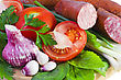 Meats And Fresh Vegetables With Salad stock photography
