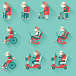 Medical Hospital Disabled Equipments.Vector Flat Design Icons Of Objects For Pensioners