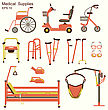 Medical Hospital Equipment For Disabled People.Vector Flat Symbols Isolated