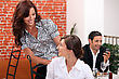 Smiling Meeting At The Restaurant stock photography