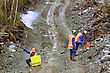 Men Setting Off Explosive Charges In A Seismic Reflective Survey Looking For Oil On The West Coast Of New Zealand stock photography