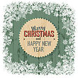 Merry Christmas Greeting On Green Wooden Background, Vector