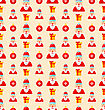 Merry Christmas And Happy New Year Seamless Pattern With Santa And Gifts - Vector