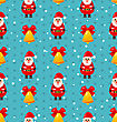 Merry Christmas And Happy New Year Seamless Pattern With Santa And Jingle Bell - Vector