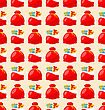 Merry Christmas And Happy New Year Seamless Pattern Bagful With Gifts - Vector