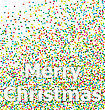 Merry Christmas Lettering Title On Background Colorful Particles Confetti - Vector stock illustration