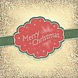 Merry Christmas Vintage Card With Snowy Pattern. Vector Illustration, EPS10