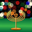 Metal Menorah With Burning Candles Is On Green Table stock illustration