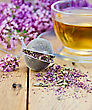 Metal Sieve With Dried Flowers Of Oregano, A Herbal Tea In A Glass Cup, Fresh Flowers Of Oregano On The Background Of Wooden Boards