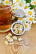 Metal Strainer With Dried Chamomile, A Bouquet Of Fresh Flowers Chamomile, Tea In Glass Mug On A Background Of Wooden Boards