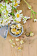 Metal Strainer With Dried Chamomile, A Bouquet Of Fresh Chamomile Flowers On A Background Of Wooden Boards