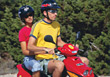 ride friends riding moped scooter stock image