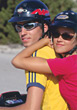 glasses riding outdoor couple helmet people stock photography