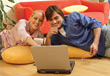 computer happiness people couples online wireless stock image