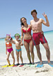 parents swimsuits recreation people flippers kid stock image